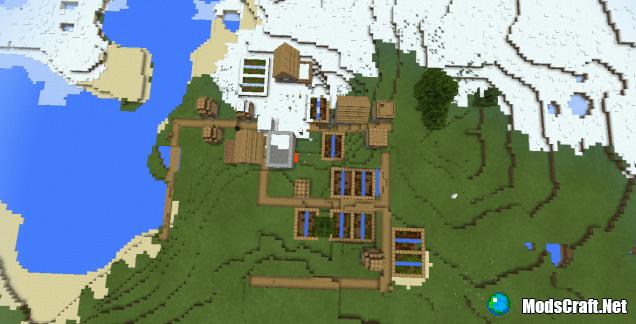 Сид на деревню возле снежного биома [0.13.X]