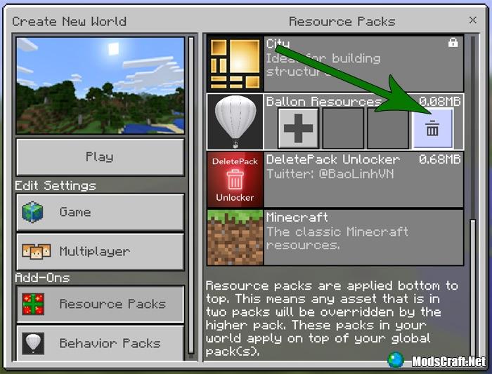 Мод DeletePack Unlocker 1.0