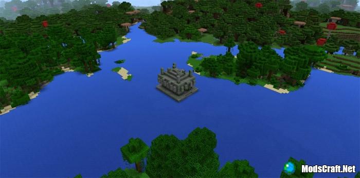 Храм в джунглях на воде