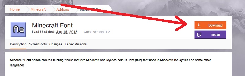 Текстур пак Minecraft Font 1.6/1.4/1.2